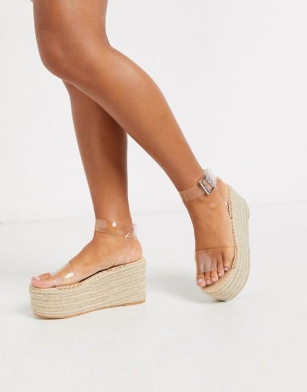 パブリックデザイア レディース サンダル シューズ Public Desire Saffy raffia flatform espadrille sandal in clear Clear