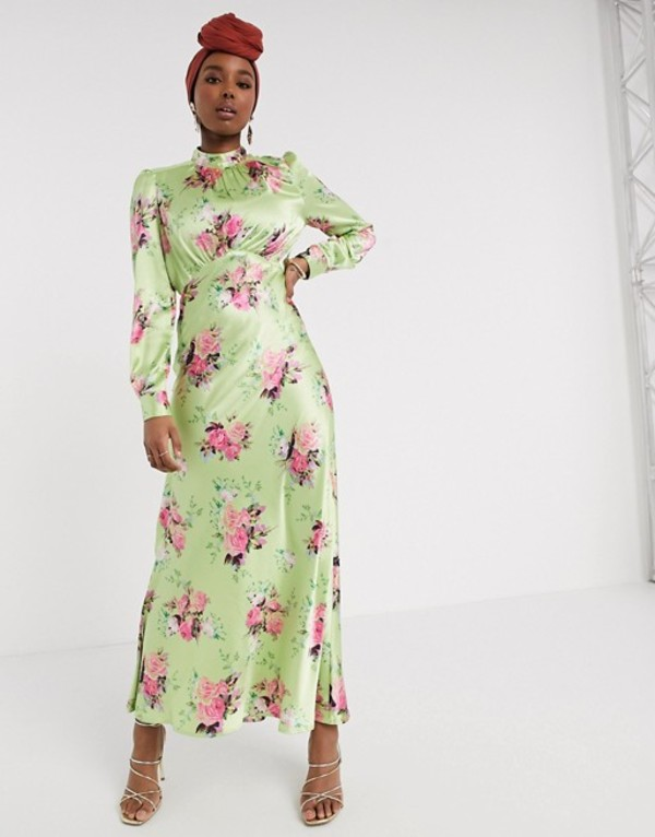 エイソス レディース ワンピース トップス ASOS DESIGN high neck maxi satin tea dress in bright floral print Green based floral