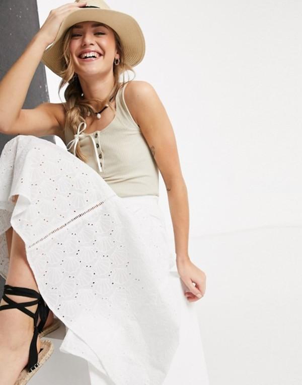 エイソス レディース スカート ボトムス ASOS DESIGN shell broderie midi skirt with peplum hem in white White