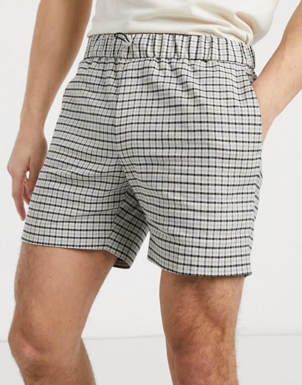 エイソス メンズ ハーフパンツ・ショーツ ボトムス ASOS DESIGN slim smart short in stone check linen cotton with toggle waist Stone