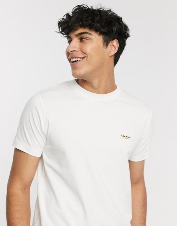 ヌーディージーンズ メンズ シャツ トップス Nudie Jeans Co Daniel logo t-shirt in off white White