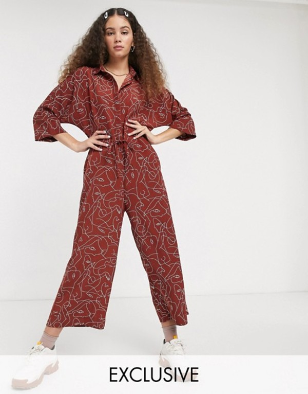 モンキ レディース ワンピース トップス Monki Harriot face print wide leg jumpsuit in rust Rust