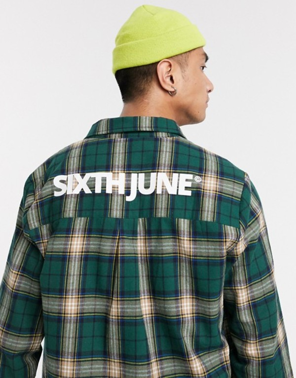 シックスジュン メンズ シャツ トップス Sixth June checked shirt with back logo in green Green