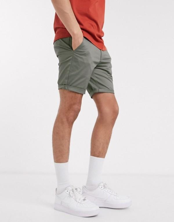 リバーアイランド メンズ ハーフパンツ・ショーツ ボトムス River Island skinny chino shorts in green Green