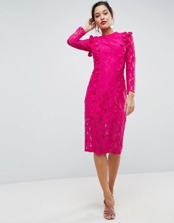 エイソス レディース ワンピース トップス ASOS Lace Ruffle Midi Column Dress Hot pinkkZuiwlOPTX