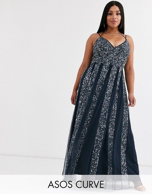 エイソス レディース ワンピース トップス ASOS DESIGN Curve cami strap maxi dress in mesh with embellished sequin godet panels Navy