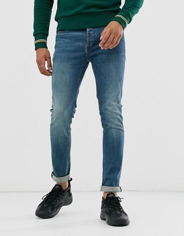 トップマン メンズ デニムパンツ ボトムス Topman skinny jeans in blue wash Blue