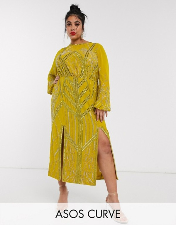 エイソス レディース ワンピース トップス ASOS DESIGN Curve blouson linear embellished midi dress Mustard