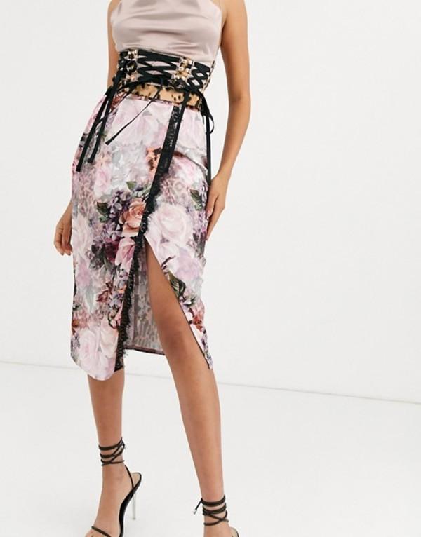 ミスガイデッド レディース スカート ボトムス Missguided satin wrap midi skirt with lace trim in floral and leopard mix print Multi