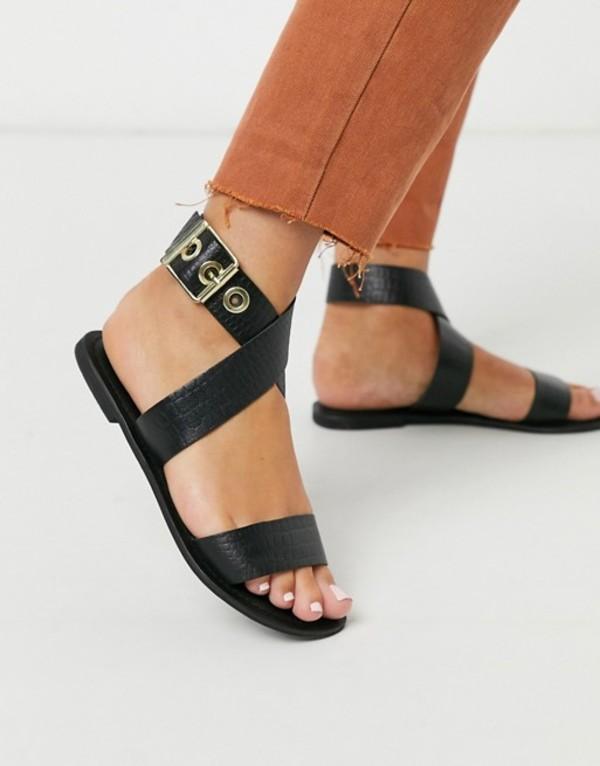 エイソス レディース サンダル シューズ ASOS DESIGN Flossy leather cross strap flat sandals in black croc Black croc