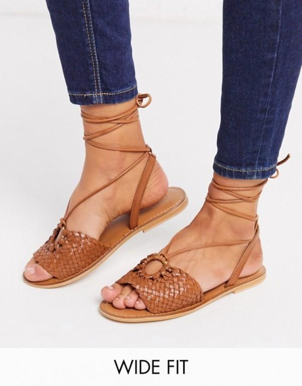 エイソス レディース サンダル シューズ ASOS DESIGN Wide Fit Figtree woven leather tie leg sandal in tan Tan