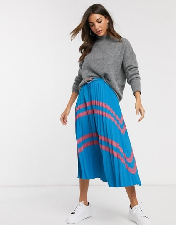 リクオリッシュ レディース スカート ボトムス Liquorish pleated midi skirt with lace inserts Blue