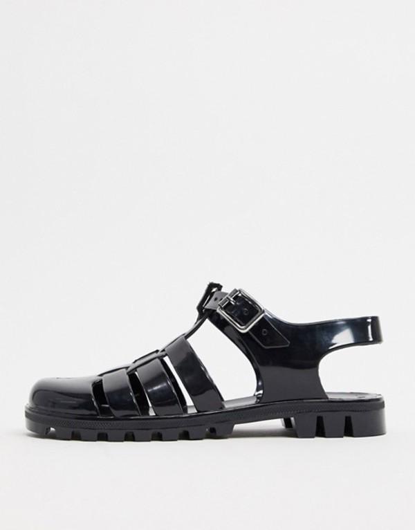 エイソス レディース サンダル シューズ ASOS DESIGN Feature fisherman jelly flat sandals in black Black