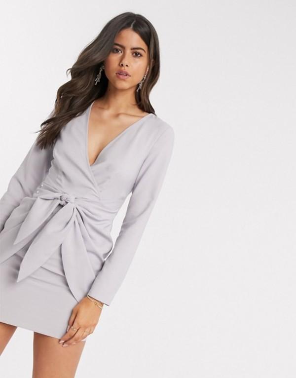 エイソス レディース ワンピース トップス ASOS DESIGN wrap front mini dress with knot skirt detail in gray Silver