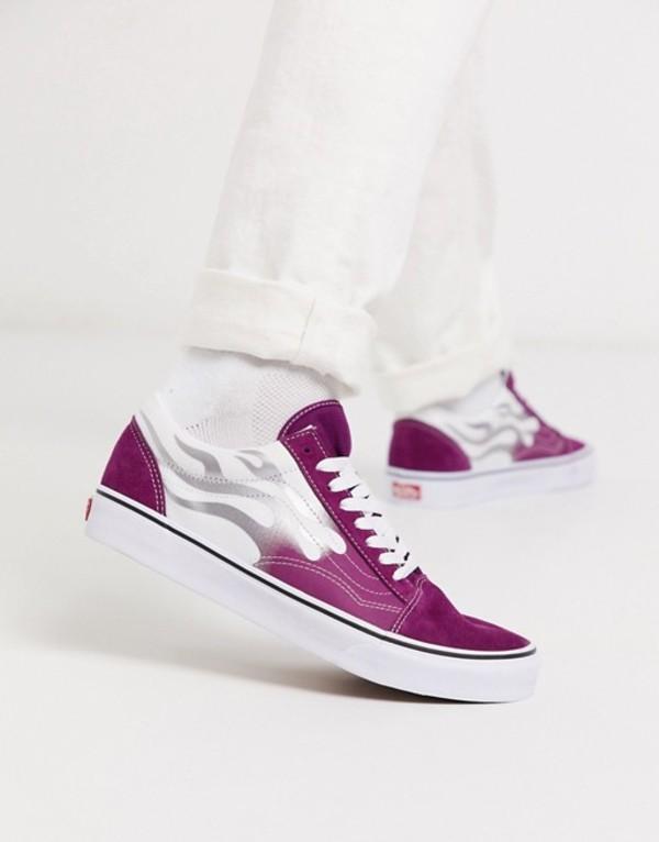 バンズ メンズ スニーカー シューズ Vans Old Skool flame sneaker in purple/white Xez flame dark purpl