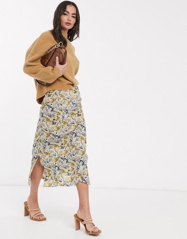 アックスパリ レディース スカート ボトムス AX Paris midi skirt with splits Tropical
