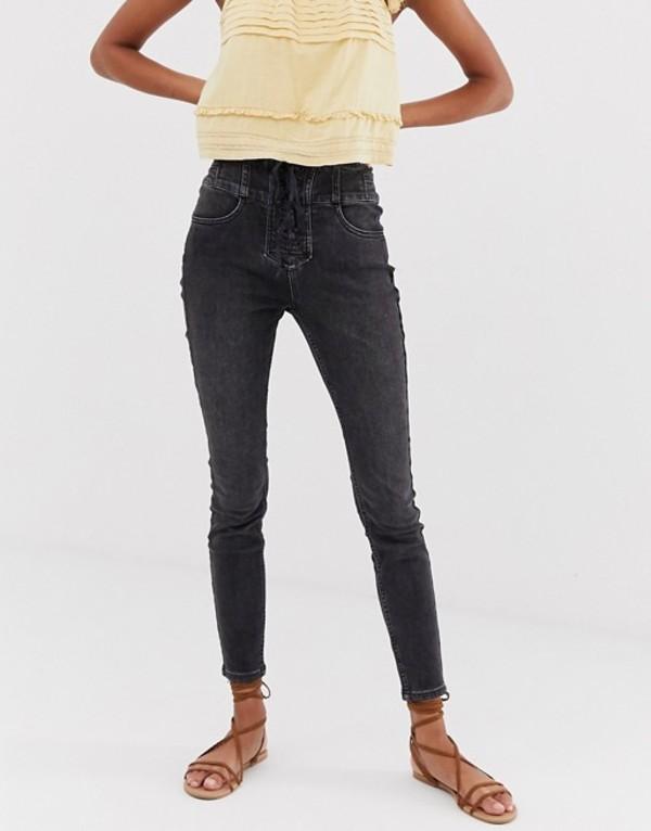 フリーピープル レディース デニムパンツ ボトムス Free People curvy lovers knot super high waist skinny jeans in black Black