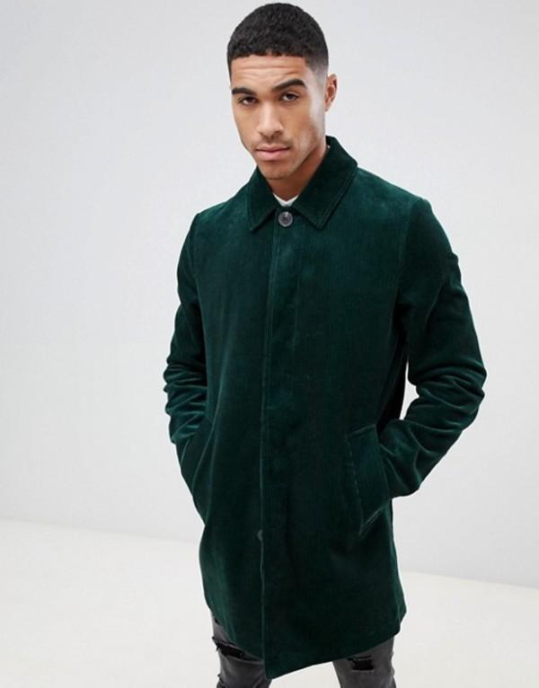 エイソス メンズ コート アウター ASOS DESIGN single breasted cord trench coat in bottle green Bottle green