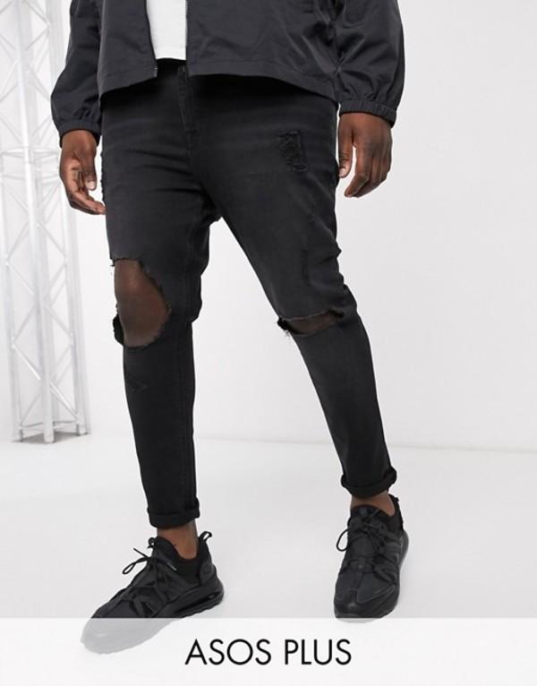 エイソス メンズ デニムパンツ ボトムス ASOS DESIGN Plus spray on jeans in power stretch with open rips in washed black Washed black