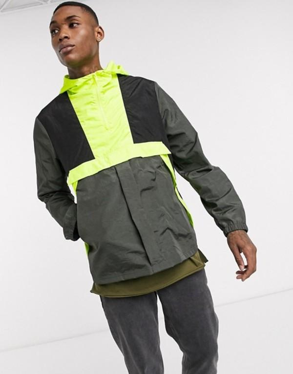 エイソス メンズ ジャケット・ブルゾン アウター ASOS DESIGN overhead jacket in khaki and fluro yellow Khaki