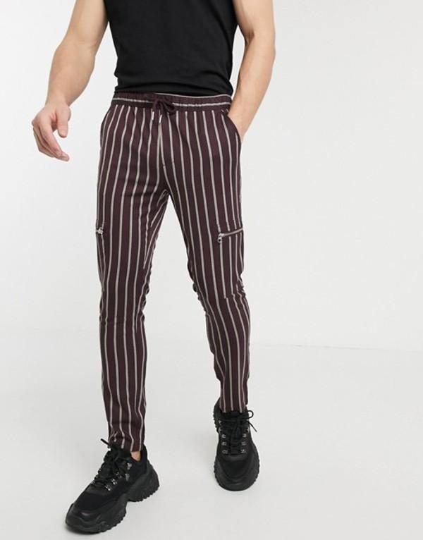 エイソス メンズ カジュアルパンツ ボトムス ASOS DESIGN skinny pants with elastic waist in stripe with zip detail Burgundy