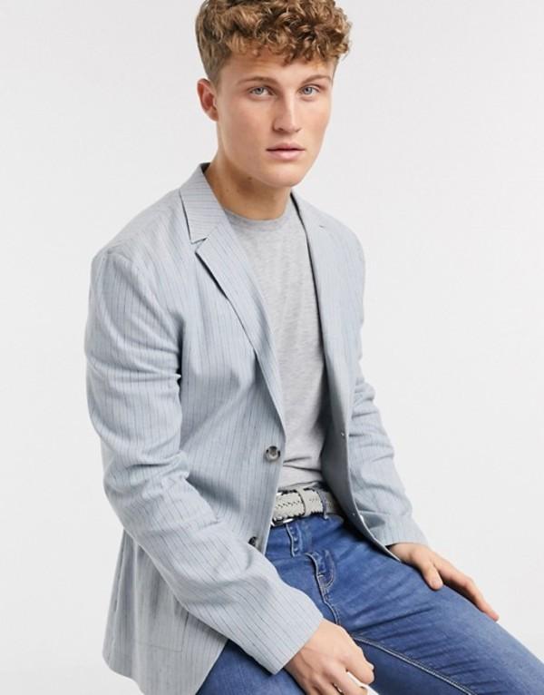 エイソス メンズ ジャケット・ブルゾン アウター ASOS DESIGN skinny casual linen blazer in light blue stripe Blue