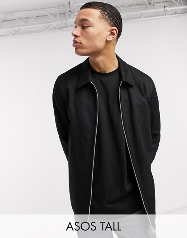 エイソス メンズ ジャケット・ブルゾン アウター ASOS DESIGN Tall harrington jacket in black Black