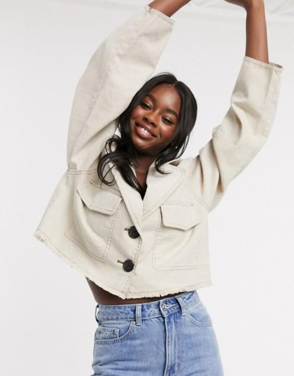 エイソス レディース ジャケット・ブルゾン アウター ASOS DESIGN raw hem linen cropped jacket in cream Linen