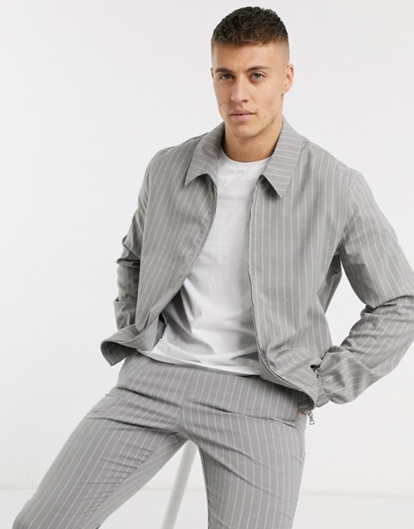 エイソス メンズ ジャケット・ブルゾン アウター ASOS DESIGN two-piece harrington jacket in gray pinstripe Gray