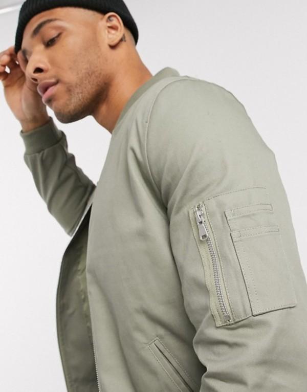 エイソス メンズ ジャケット・ブルゾン アウター ASOS DESIGN MA1 bomber jacket in light khaki Khaki