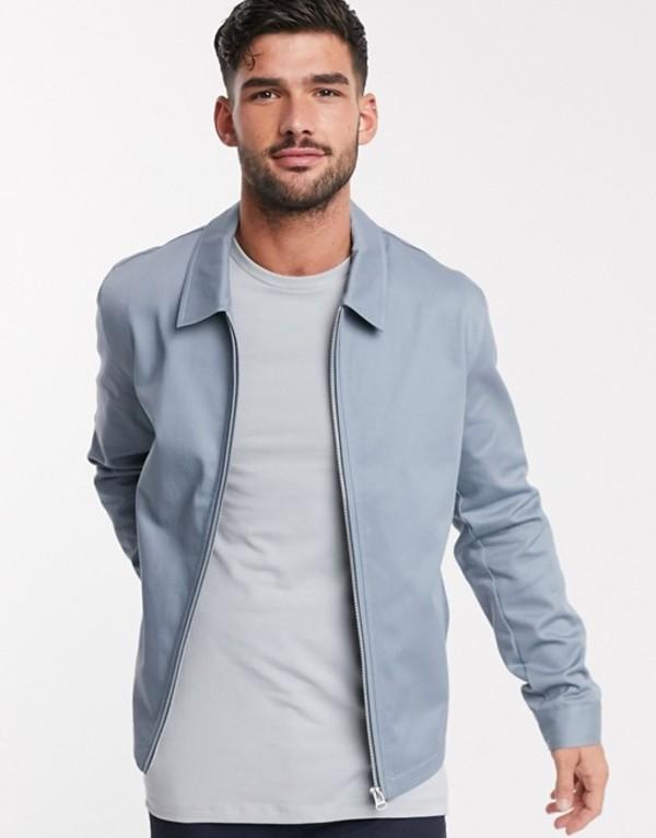 エイソス メンズ ジャケット・ブルゾン アウター ASOS DESIGN harrington jacket in light blue Blue