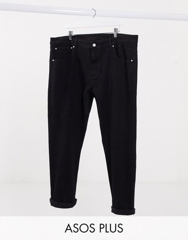 エイソス メンズ デニムパンツ ボトムス ASOS DESIGN Plus tapered jeans in black Black