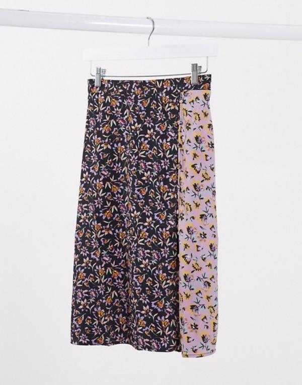 バンドオブジプシーズ レディース スカート ボトムス Band of Gypsies mix print wrap skirt Black floral