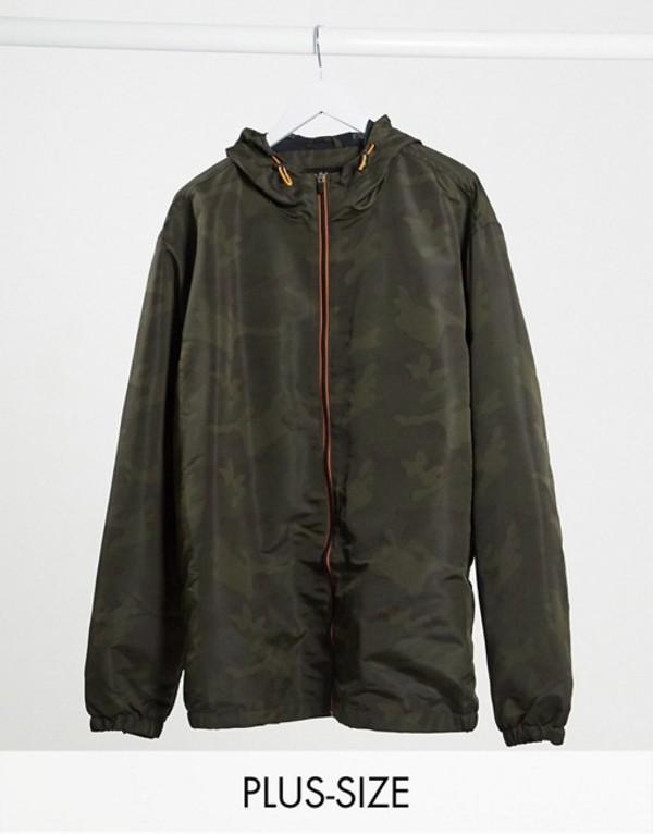 ジャカモ メンズ ジャケット・ブルゾン アウター Jacamo lightweigtht jacket with hood in green camo Camo