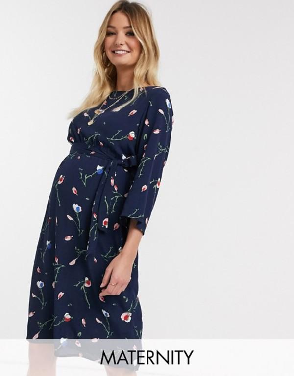 ママライシアス レディース ワンピース トップス Mamalicious Maternity midi dress in navy floral Multi