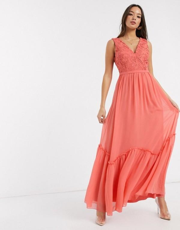 リトルミストレス レディース ワンピース トップス Little Mistress Miranda lace plunge maxi dress in orange Desert flower