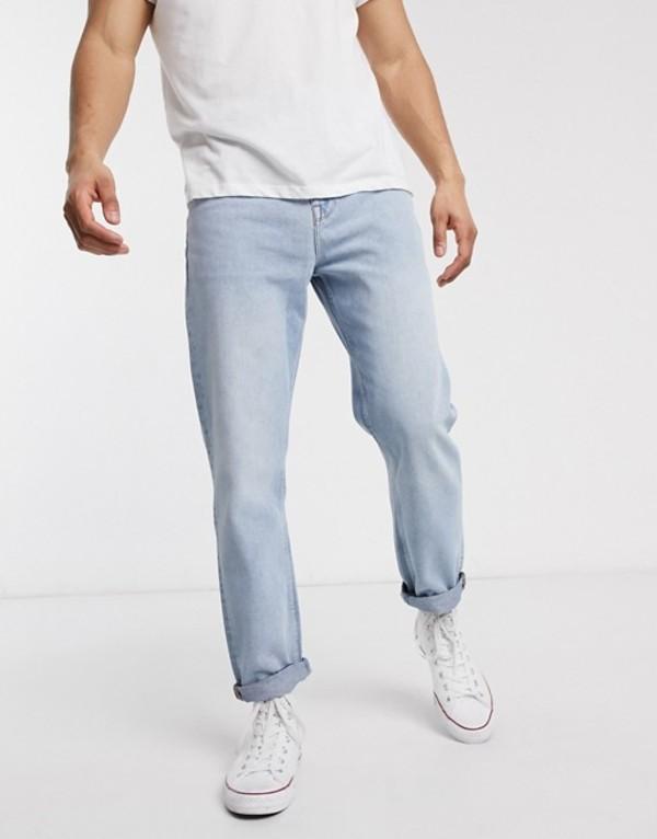 エイソス メンズ デニムパンツ ボトムス ASOS DESIGN straight crop jeans in light wash blue Light wash blue