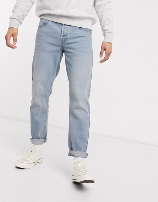 エイソス メンズ デニムパンツ ボトムス ASOS DESIGN tapered jeans with dusty tint Mid wash blue