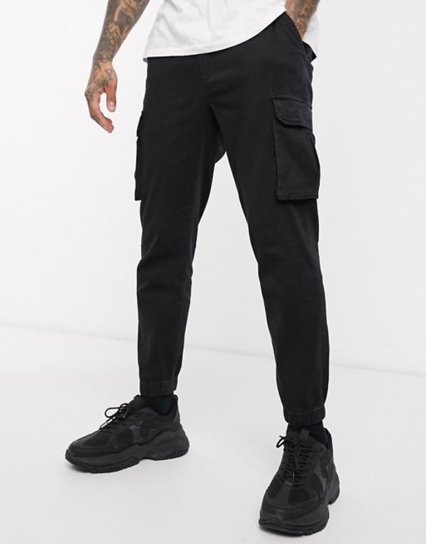 プルアンドベアー メンズ カジュアルパンツ ボトムス Pull&Bear denim jogger with pockets in black Black