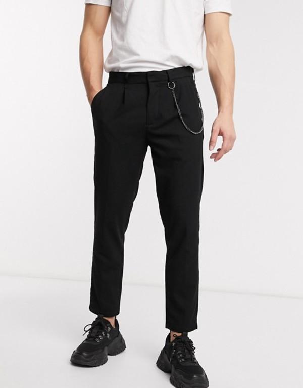 プルアンドベアー メンズ カジュアルパンツ ボトムス Pull&Bear tapered pants with chain in black Black