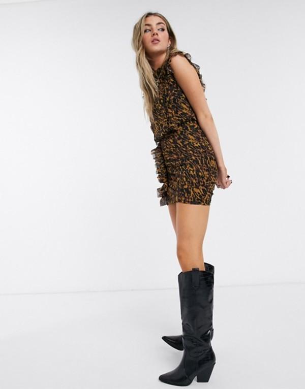 オールセインツ レディース ワンピース トップス AllSaints hali ambient leopard print mini dress Brown