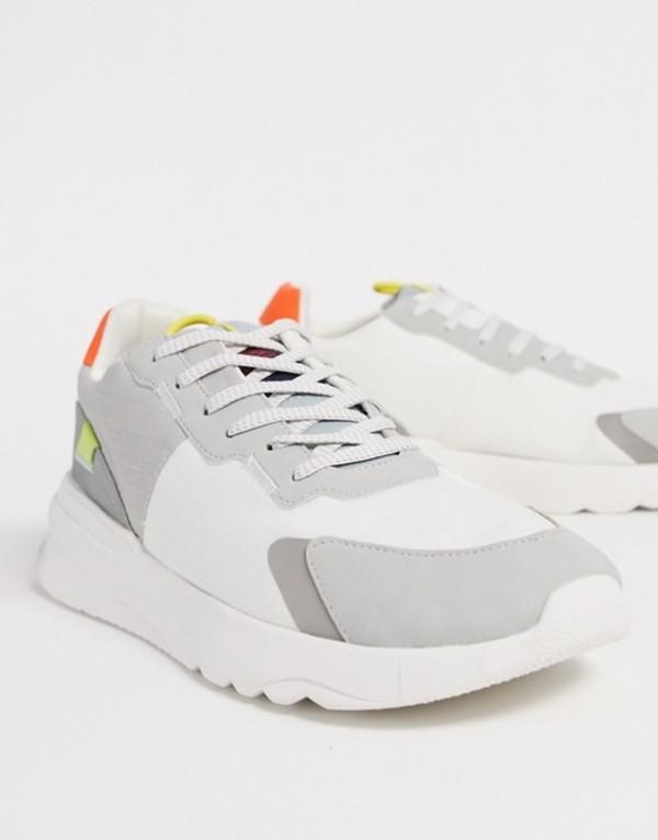 プルアンドベアー メンズ スニーカー シューズ Pull & Bear color block sneakers White