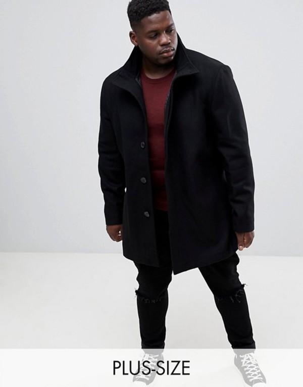 フレンチコネクション メンズ コート アウター French Connection PLUS Wool Blend Funnel Neck Coat Black