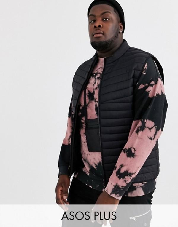 エイソス メンズ タンクトップ トップス ASOS DESIGN Plus puffer vest in black Black