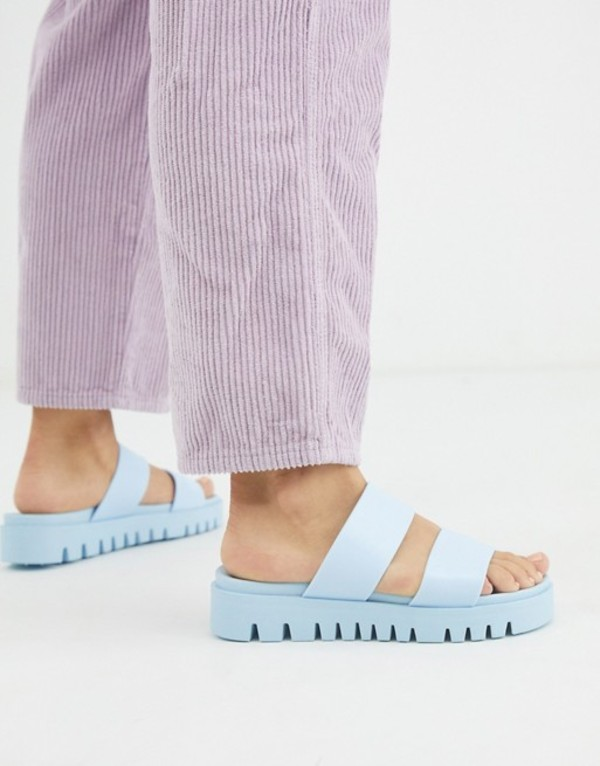エイソス レディース サンダル シューズ ASOS DESIGN Fletch chunky jelly flat sandals in blue Blue