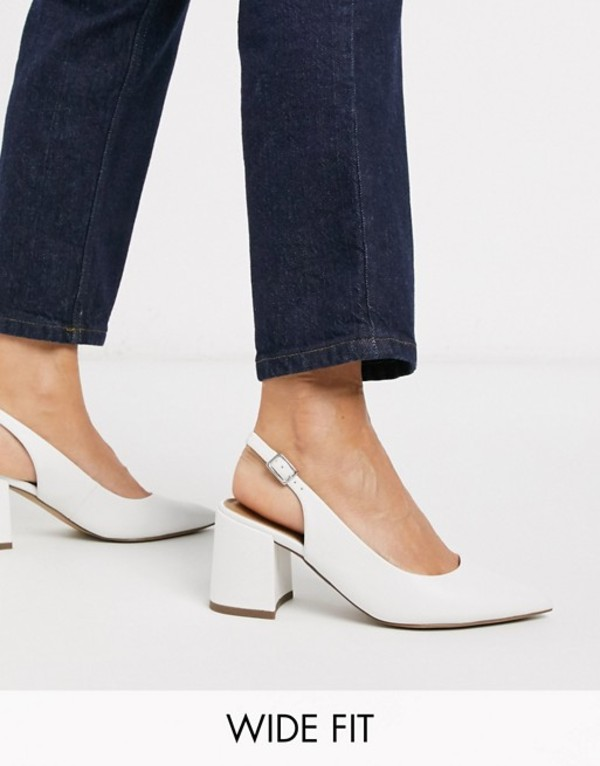 エイソス レディース ヒール シューズ ASOS DESIGN Wide Fit Sammy slingback mid heels in white White
