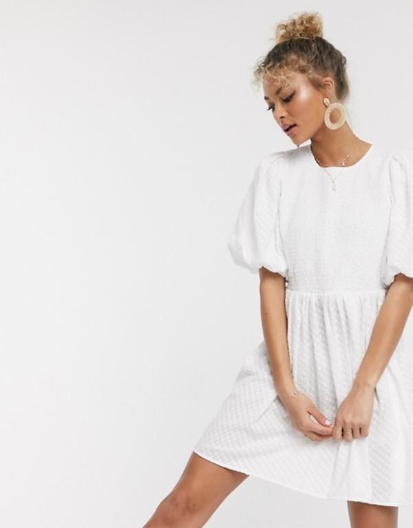 エイソス レディース ワンピース トップス ASOS DESIGN shirred mini smock dress with puff sleeves in texture in white White