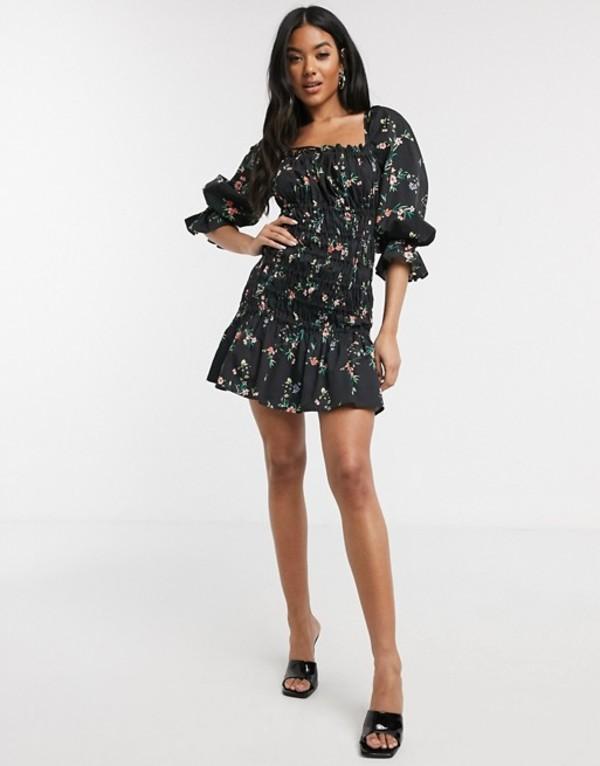 エイソス レディース ワンピース トップス ASOS DESIGN cotton poplin shirred mini dress with lace up back in floral print Black based floral