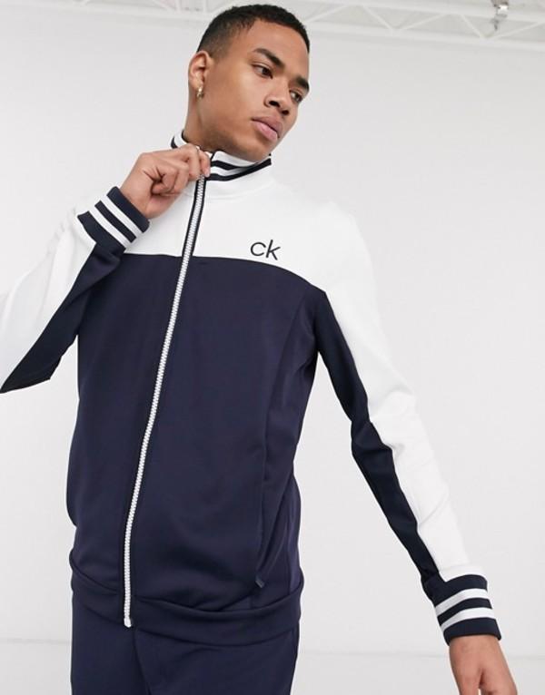 カルバンクラインゴルフ メンズ ジャケット・ブルゾン アウター Calvin Klein Golf retro performance zip-thru jacket in navy Navy