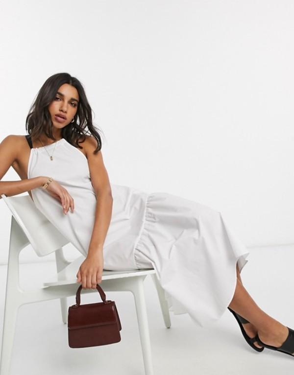 エイソス レディース ワンピース トップス ASOS DESIGN cotton poplin halter midi sundress with pep hem and contrast ties in white White